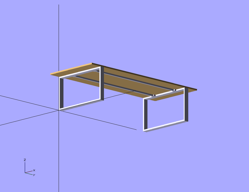 CAD-Modell des Tisches