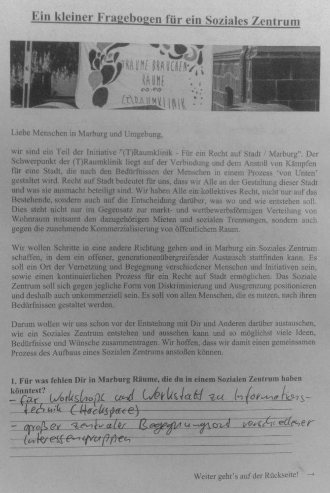 Erste Seite des ausgefüllten Fragebogens
